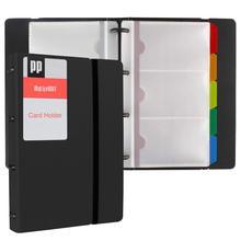 Визитная карточка книга портативный 120 карт открытка Органайзер с пятью цветными вкладками и эластичным ремешком бизнес-держатель для карт книга