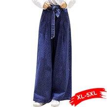 Verano más tamaño pajarita cintura suelta pantalones de pierna ancha mujeres  4Xl 5Xl Streetwear alta cintura de longitud complet. ce837610100
