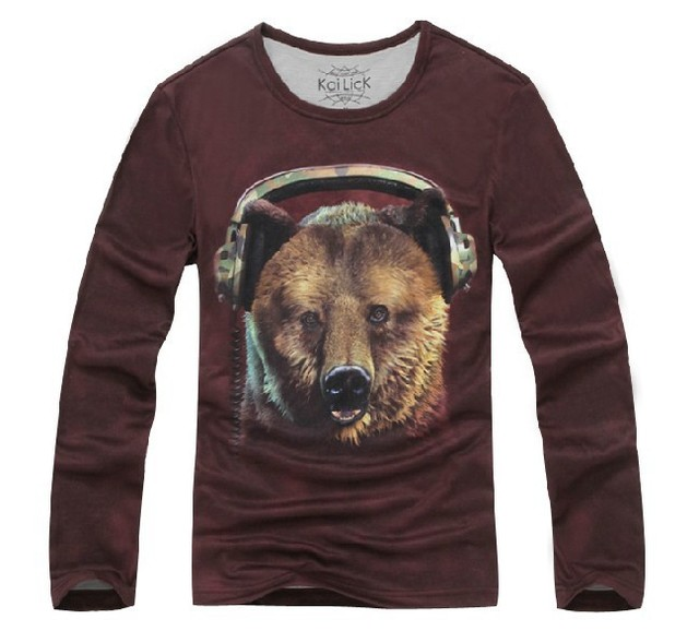 Fashion Men's Long-sleeved T-shirt DJ Bear Violent Creative Animal 3D Unlined Upper Garment Cheap Sale,Free Shipping