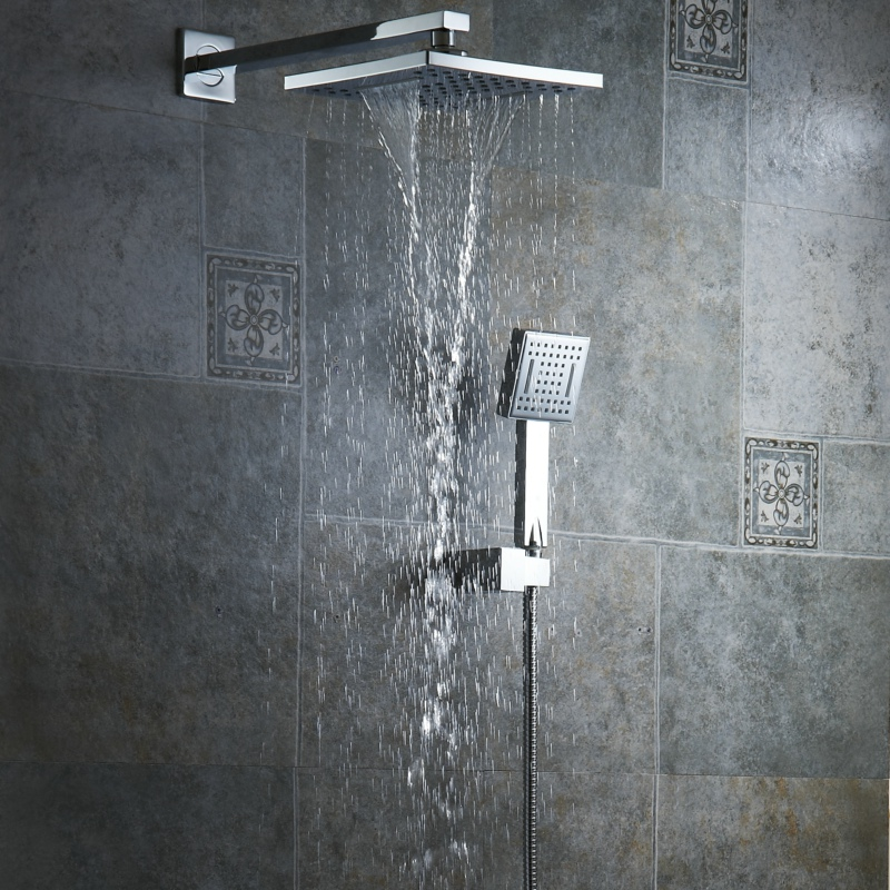 BECOLA Free shipping 8 inch rainfall shower head bathroom handheld shower Waterfall type shower head and