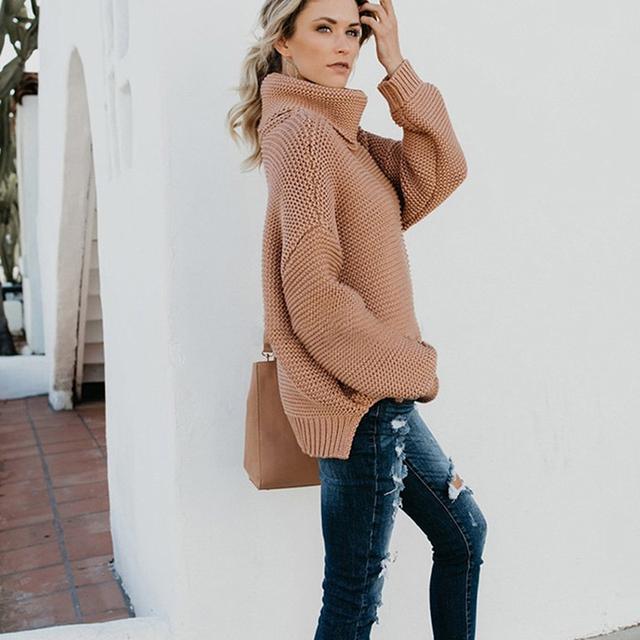 Turtleneck Warm Women Sweater Autumn Winter Knitted Femme Pullover High Elasticity Soft Female Sweater Jumper