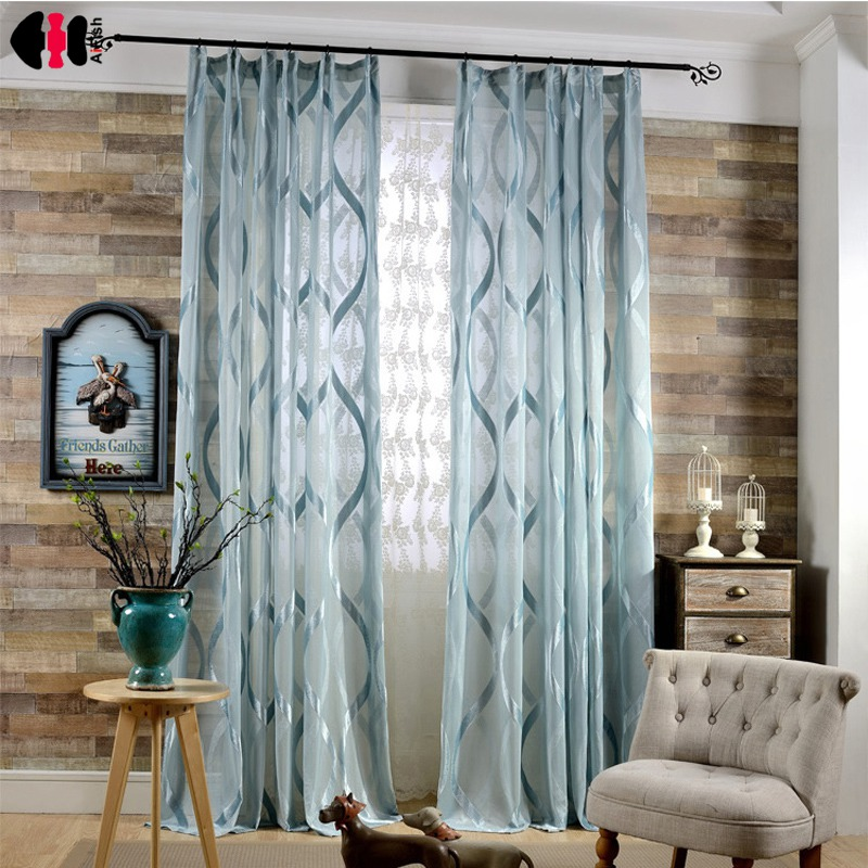 Fresh Geometric Striped Curtain Polyester S Pattern Flocked Shiny Wedding Bedroom 2018 Summer Drapes Panel Gauze Nets WP150C ...
