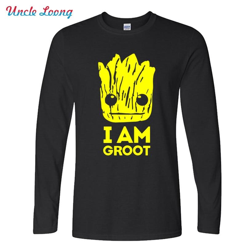 Autumn New Printed Guardians of the Galaxy T Shirt Men O-Neck Cotton I Am Fashion Long Sleeve T Shirts Top Tees XS-XXL