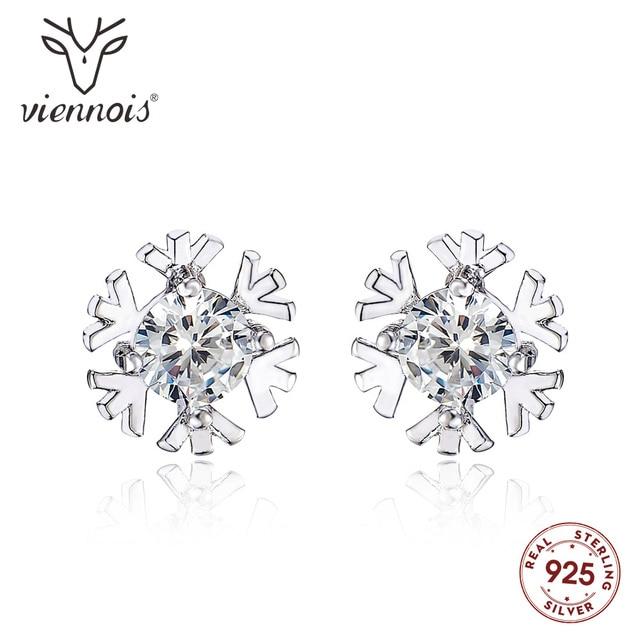 Viennois 925 Sterling Silver Glittering Snow Classic Stud Earrings For women Shiny Austrian Zircon Earrings Fashion Jewelry