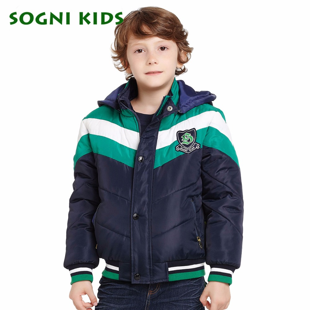 SOGNI KIDS Boys Winter Hooded Jackets And Coats Baby Boy Patchwork Cotton padded jacket Parkas kids