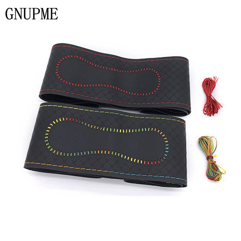 GNUPME 38cm Universal Car Steering Wheel Cover Braid On Sew antislip breathable fashion Genuine Leather Steering Covers
