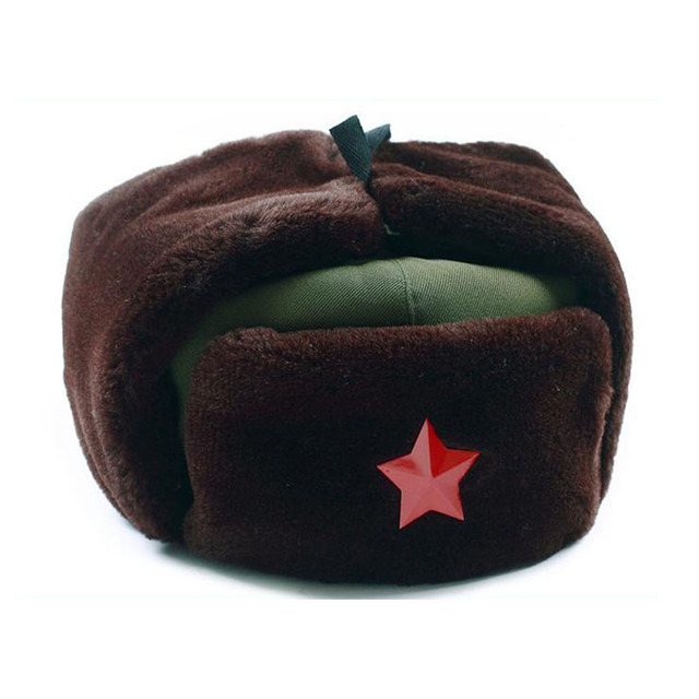 Chinês Russo Ushanka Trooper Chapéu do Exército Verde de Inverno Cap Quente  Com Emblema Da Estrela bcd76d4b120