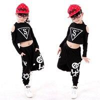 Fashion New Girls Boys Black Print Modern Jazz Hip Hop Dancewear Set Kids Ballroom Dance