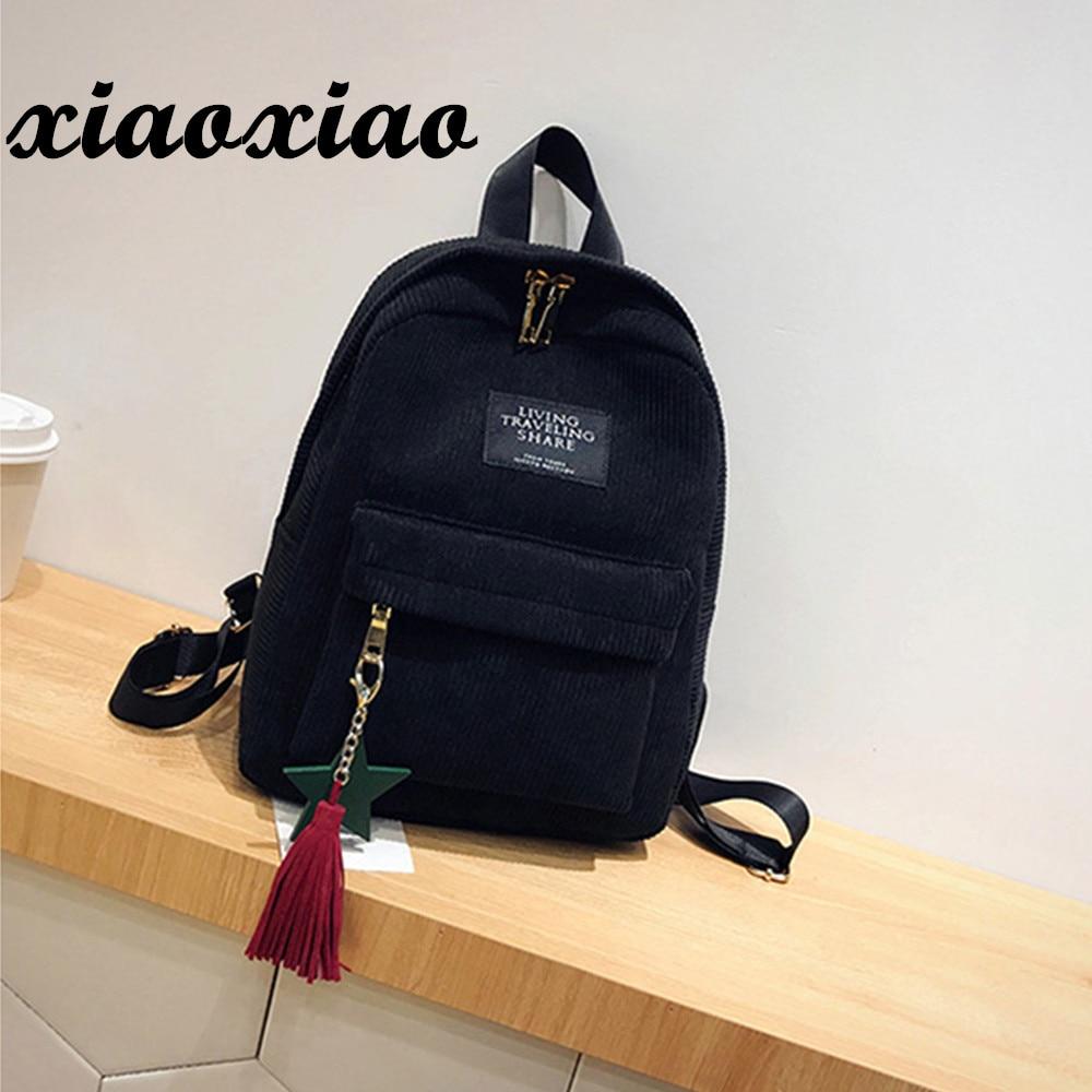HTNBO Women Backpacks School Soulder Bag With Tassel Corduroy Backpack Female Notebook Bags For Girls Preppy Style Knapsack