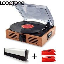 Looptone usb turntable players kit vinil lp registro telefone player + escova de limpeza para cd/lp 2 pçs safira derrubado cerâmica agulha