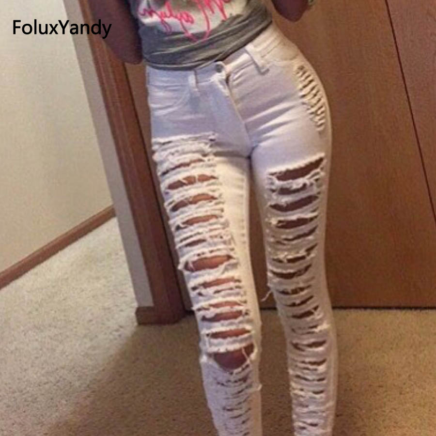 Stretched Hole   Jeans   Skinny Pencil Pants White Casual Plus Size Women High Waist   Jeans   TSS85