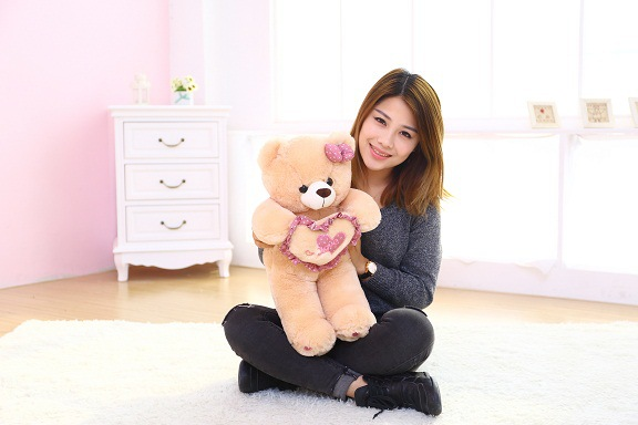 new cute plush brown teddy bear toy pink heart and bow bear doll gift about 70cm new plush teddy bear toy lovely brown heart and bow bear doll gift about 100cm