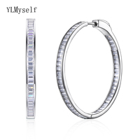 Luxury 38mm diameter silver hoop earring shiny T square CZ jewelry 925 Sterling silver large circle earrings for night bar party