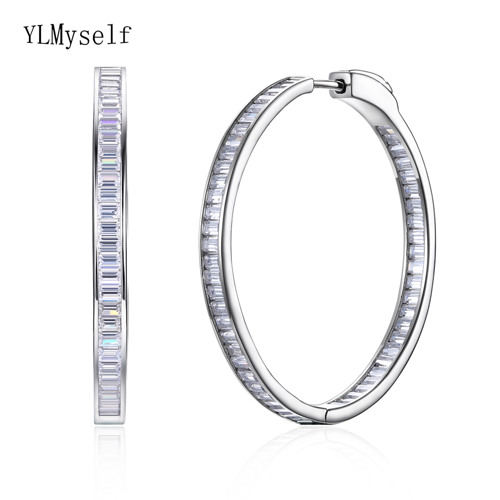 Luxury 38mm diameter silver hoop earring shiny T-square CZ jewelry 925 Sterling silver large circle earrings for night bar partyLuxury 38mm diameter silver hoop earring shiny T-square CZ jewelry 925 Sterling silver large circle earrings for night bar party