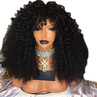 DLME Middle Part Black Wig 180% Density Heat Resistant Fiber Hair Wigs Kinky Curly Synthetic Lace Front Wig For Women