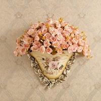 3D Resin Vase Sculpture Wall Hanging Statue Decoration for Flower Arranging Garden Decorative Village Ornament Artwork Craft