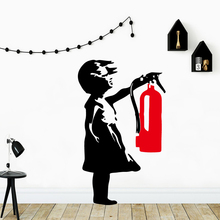 Modern Banksy Girl Fire Extinguisher Wall Stickers Decorative Sticker Home Decor For Kids Rooms Art Decals