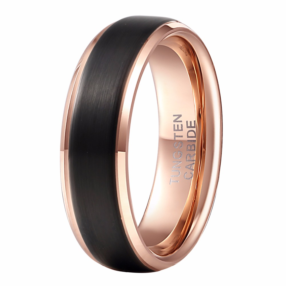 Alibaba Aliexpress Cool Men Ring 8mm Classic Black Rose Gold Tungsten Carbide Wedding Band Rings Female