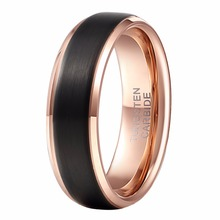 Alibaba-aliexpress Cool Men Ring 8mm Black & Rose Gold Color Tungsten Carbide Wedding Band Rings Female Punk Finger Jewelry