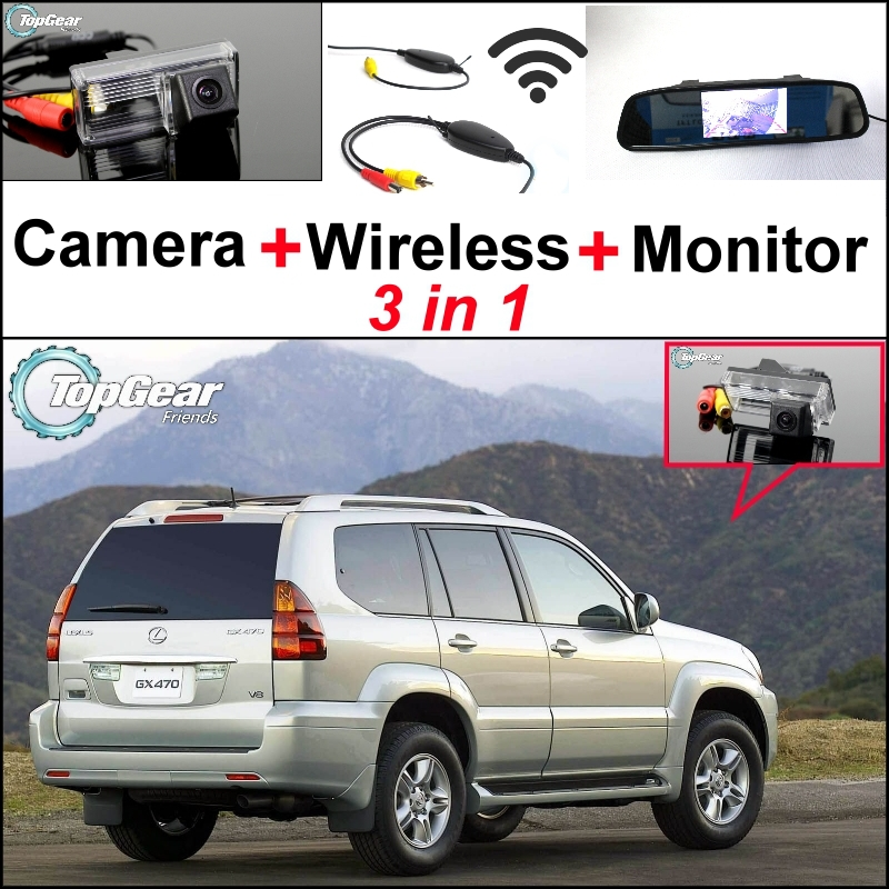 3 in1 Special Rear View Wifi Camera + Wireless Receiver + Mirror Monitor Easy Backup Parking System For Lexus GX 470 GX470 for mitsubishi grandis car parking sensors rear view camera 2 in 1 visual bibi alarm parking system