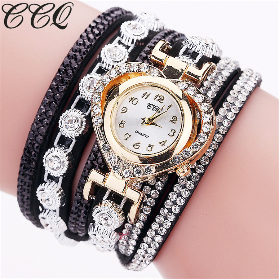 CCQ Brand Fashion Luxury Women Rhinestone Bracelet Watch Ladies Quartz Watch Casual Women Wrist Watch Relogio Feminino Gift ccq brand fashion vintage cow leather bracelet roma watch women wristwatch casual luxury quartz watch relogio feminino gift 1810