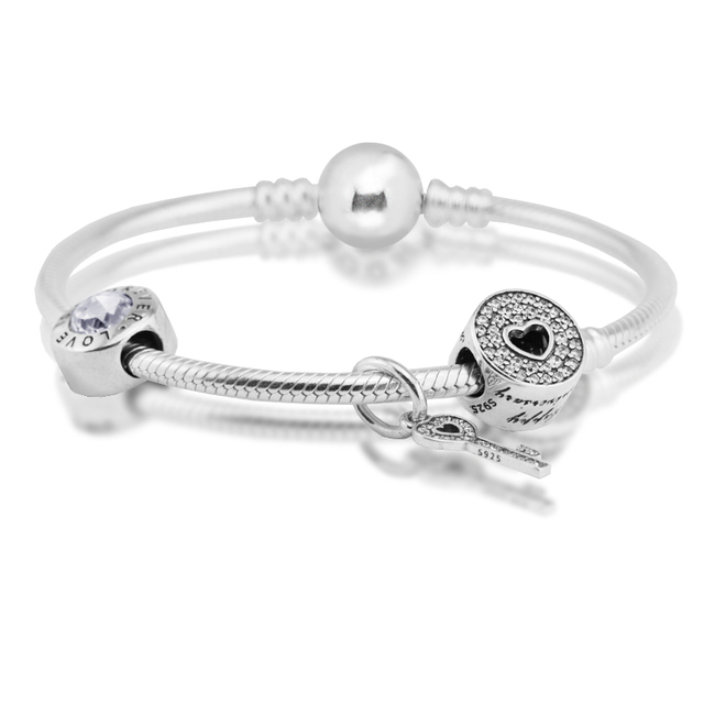 Snake Clasp Bracelets Sterling-Silver-Jewelry with 3pcs 925 Silver Beads Jewelry for Women Free Shipping
