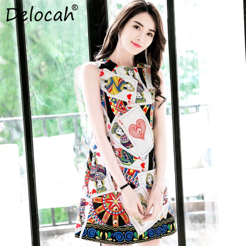 Delocah New 2018 Summer Fashion Designer Dress Womens Sleeveless Tank Gorgeous Poker Cards printed Mini Embossed Dress