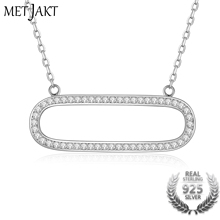 MetJakt 925 Sterling Silver Adjustable Sizes Chain AAA+ Austrian Crystal Pendants Necklace with For Women's Fine Jewelry