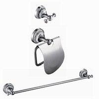 Free Shipping bathroom hardware set Solid Brass ceramic Chrome ,Robe hook,Paper Holder,Single Towel Bar 3 pcs DB000
