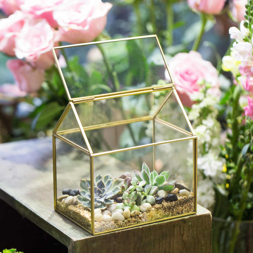 NCYP Modern Gold Glass Box Wedding Organizer Transparent Glass Top Lid Plants Terrarium Decoration Container Storage Case Gift