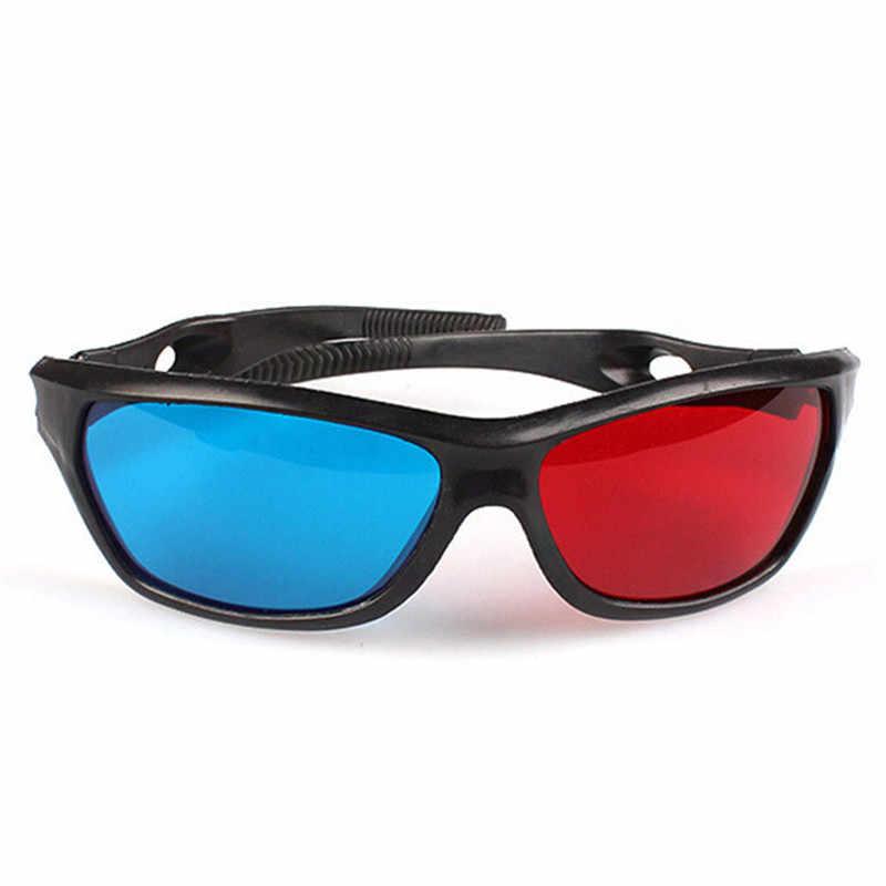 1 pc Universal 3D Plastik Kacamata Bingkai Merah Biru Hitam Untuk Dimensi Anaglyph TV Film DVD Game Hadiah Ulang Tahun
