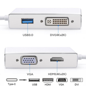 Image 5 - 4 in 1 USB 3.1 USB C Type C to HDMI VGA DVI USB 3.0 Adapter Cable for Laptop Apple Macbook Google Chromebook Pixel