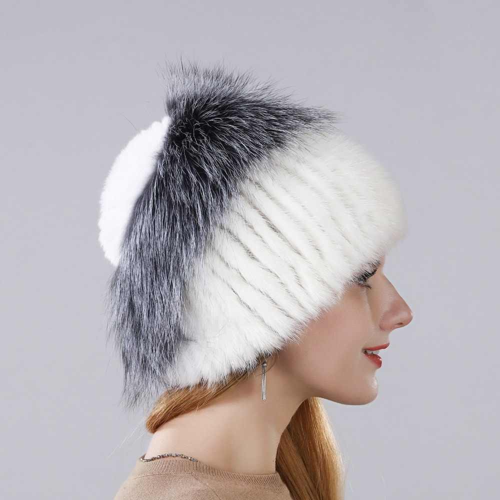 Musim Dingin Hangat Topi Bulu Kelinci Bunga dengan Fox Bulu Di Atas Gaya Baru Alami Impor Mink Bulu Bulu Hangat Topi untuk Wanita Telinga Hangat Topi