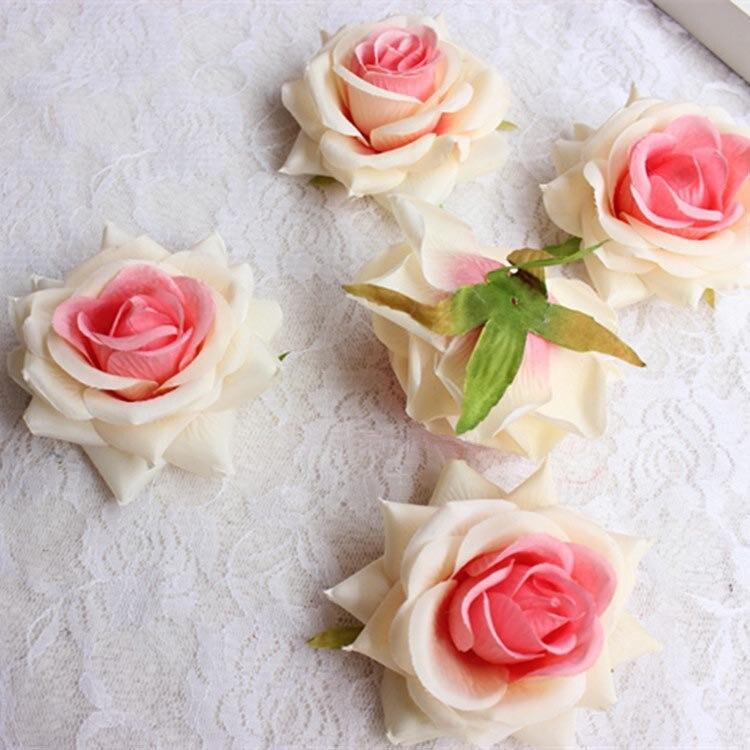 Cabezales de rosas de té de gran tacto de tela grande de alta - Para fiestas y celebraciones