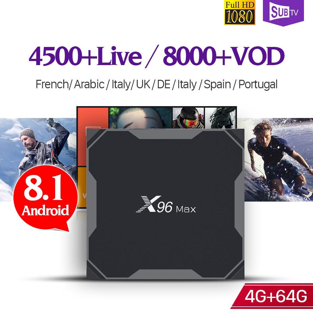 IP TV France BOÎTE X96 Max Android 8.1 USB3.0 S905X2 4G 64G 2.4G & 5G Wifi avec 1 Année SUBTV IPTV Belgique Français Arabe Pays-Bas