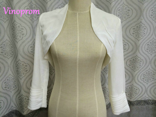 Long Sleeve Lace Bolero Shawl And Wrap Chiffon Fourrure White Ivory Mariage Boleros Jacket Wedding