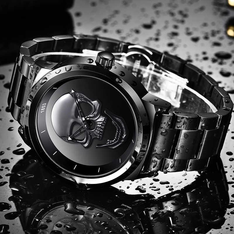 ساعة رجالية ثلاثية الأبعاد على شكل جمجمة LIGE ساعة كوارتز من الفولاذ المقاوم للصدأ للرجال ساعة إبداعية مقاومة للماء للأعمال التجارية للرجال