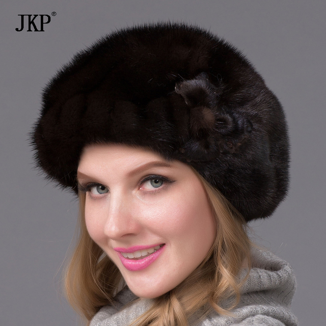 Genuine mink fur hat for women winter imported whole mink fur cap floral  pattern 2017 Russian high-end luxury female hats DHY-48 863081983b5