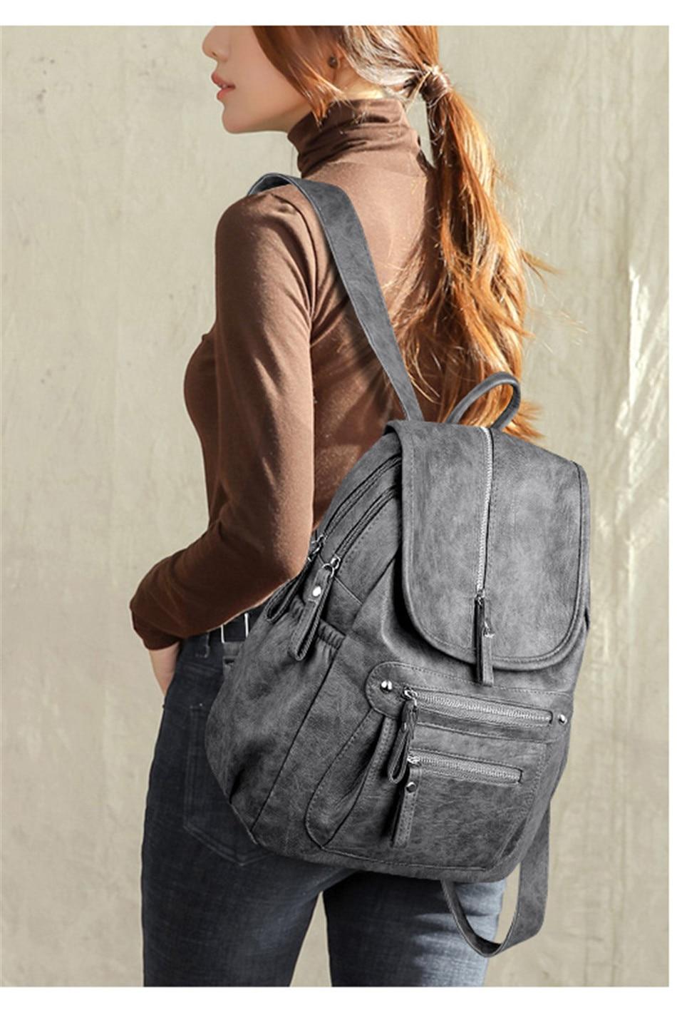 HTB1vKtMaIvrK1Rjy0Feq6ATmVXaV Women Backpack Female High Quality Soft Leather Book School Bags For Teenage Girls Sac A Dos Travel Back pack Rucksacks Mochilas
