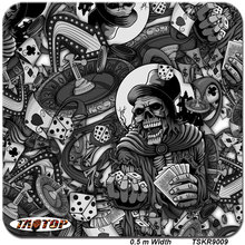 TSKR9009 popular pattern black skull Hydrographic Film  PVA Water Transfer Printing Film