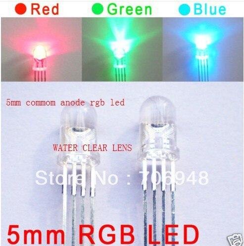 Микс 100x вода прозрачный диффузный 5 мм RGB светодиод общий анод
