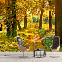 HD Autumn Forest Maple Leaf 3D Mural Nature Photo Wallpaper Living Room Dining Room Romantic Interior Decor Non-woven Wallpaper