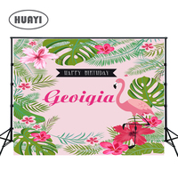 Photography backdrops Flamingo Birthday banner baby children happy birthday party background photobooth flowes floral wall W 294