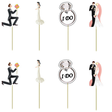 Groom & bride wedding party decoration Cupcake Topper Pick Wedding theme party Engagement mariage bachelorette party baby shower