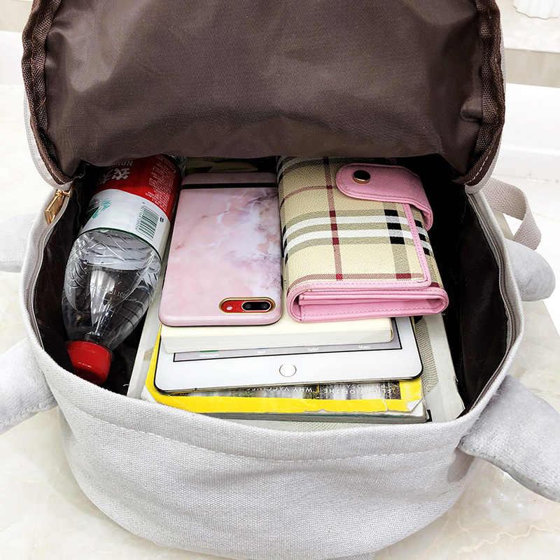 Прелестный Холщовый Рюкзак Мультфильм школьная сумка для ноутбука рюкзак для девочки-подростка Повседневное большие сумки серый Mochila