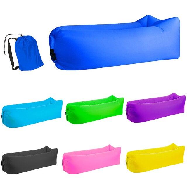 Luz saco de dormir À Prova D' Água saco sofá preguiçoso camping sacos de Dormir cama de ar Inflável Adulto Praia Espreguiçadeira Dobrável Rápido