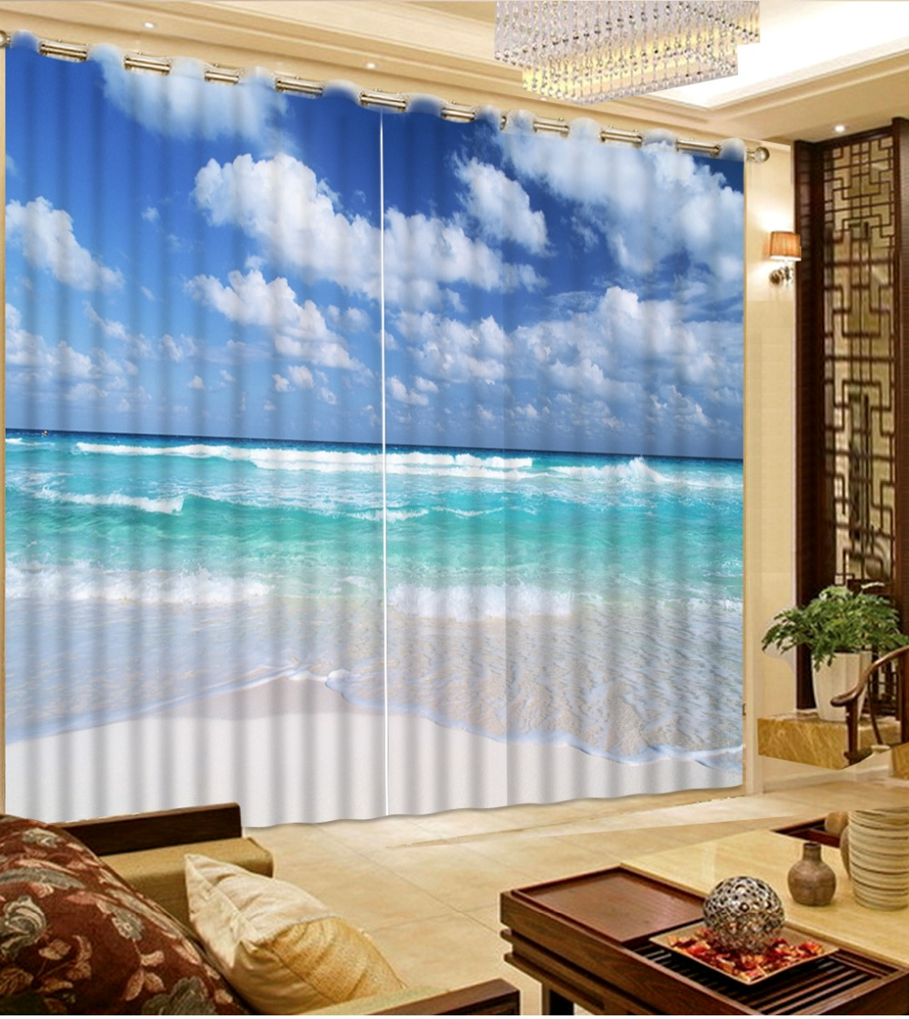 Beach Window Curtains Part - 15: Fashion 3D Home Decor Beautiful Photo Customize Size Blue Sky And White  Cloud Beach Window Curtains