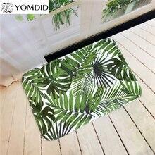 Bienvenido plantas tropicales impresa cocina tapetes felpudo alfombras de baño casa carpet para salón antideslizante tapete alfombra