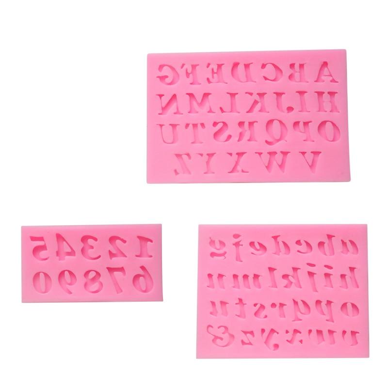 3 unids/set Letras En Forma de Molde de Pastel de Silicona 3D Fondant Cake Decor