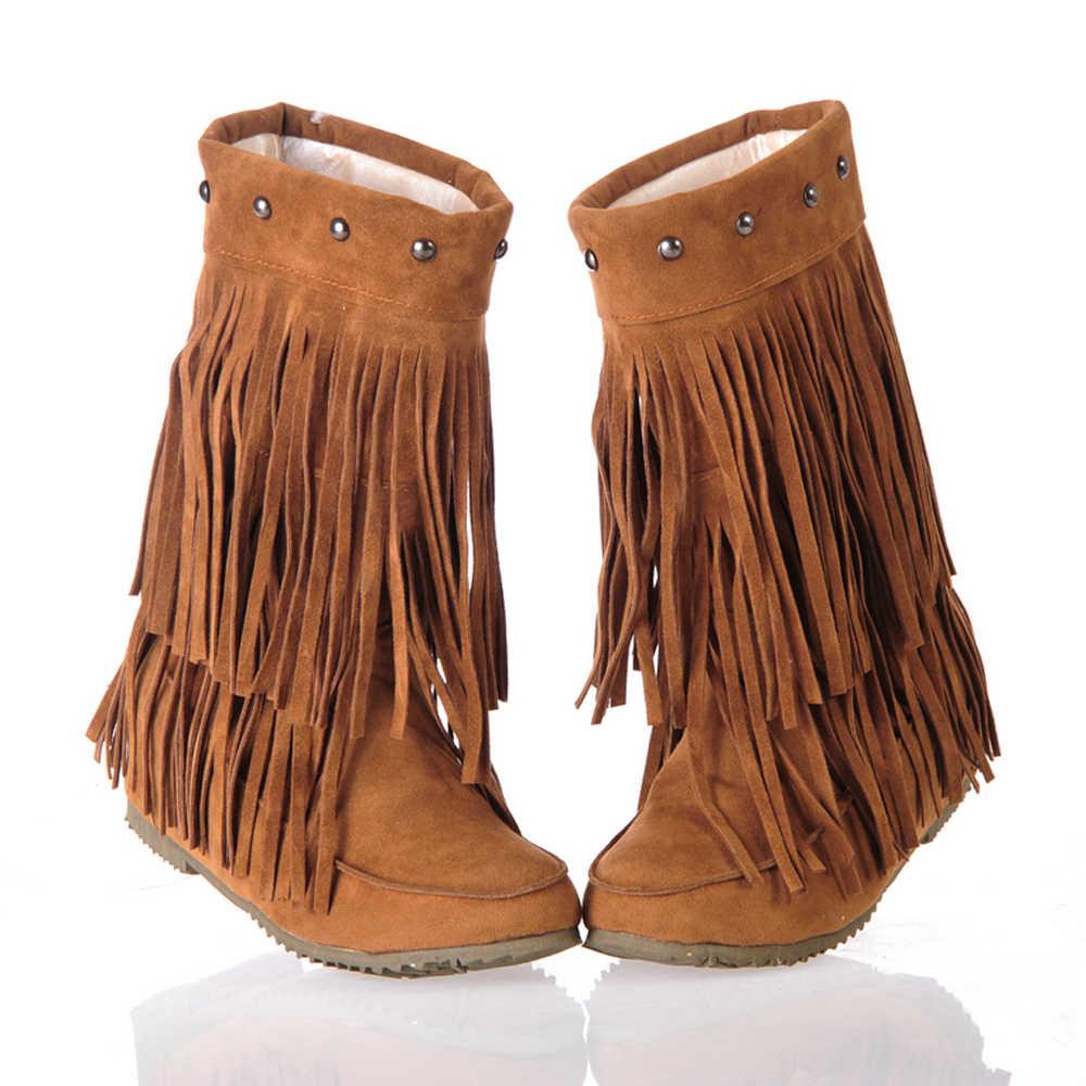 Meotina Orta Buzağı Çizmeler Kadın Botları Kış Saçak Yüksekliği Artan Topuk Çizmeler Püskül Med Topuk Ayakkabı Bayan Sarı Büyük boyutu 34-43